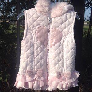 Little Lass pink sequin heart  on white  bow vest